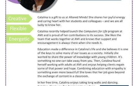 In July we are celebrating Catalina's AMI-versary. Read about this wonderful Entry Program and Computers for Life teacher. Comment below if you were Catalina's student.